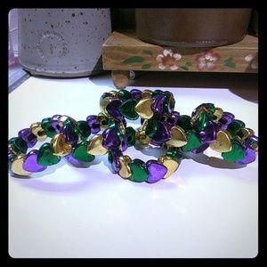 Mardi Gras Heart Bracelet
